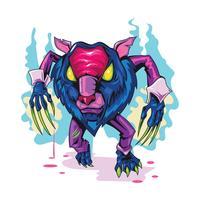 Lobisomem assustador monstro bravo novo Skool tatuagens ilustração vetor