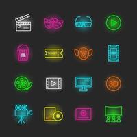 conjunto de ícones de néon de filme vetor