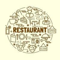 conjunto de ícones de linha fina mínima de restaurante vetor