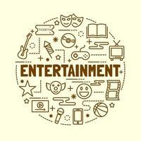 conjunto de ícones de linha fina mínima de entretenimento vetor