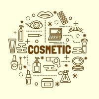 conjunto de ícones cosméticos de linha fina mínima vetor