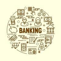 conjunto de ícones de linhas finas mínimas bancárias vetor