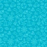 fundo sem emenda do azul do oceano. elementos do vetor doodle