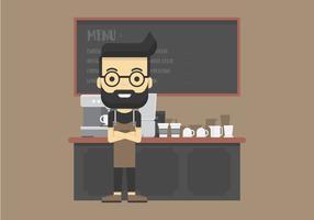Barista legal fazendo café e usando a cafeteira dentro de ilustração de Cafe vetor