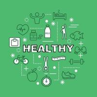 ícones de contorno mínimo saudáveis vetor