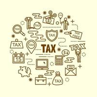 conjunto de ícones de linha fina mínima de impostos vetor