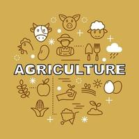 ícones de contorno mínimo de agricultura vetor