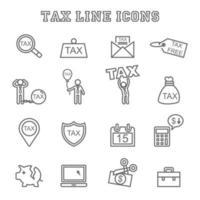 ícones de linha de impostos vetor