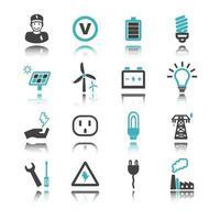 ícones de eletricidade com reflexão vetor