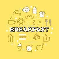ícones de contorno mínimo de café da manhã vetor