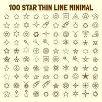 Conjunto de ícones de linha fina com 100 estrelas vetor