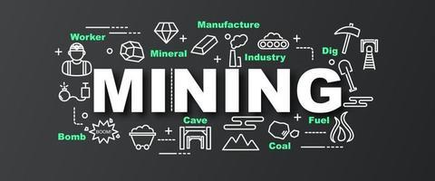 banner moderno de vetor de mineração