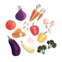 coleção de vegetais frescos coloridos isolados no fundo branco. produtos orgânicos saudáveis. comida vegana e vegetariana. mão desenhada ilustração vetorial. vetor