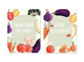 dois modelos de pôster vertical com vegetais orgânicos frescos e lugar para texto. mão colorida desenhada comida natural. ilustração vetorial. vetor