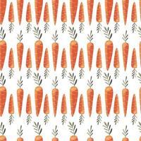 padrão sem emenda com cenouras coloridas. mão desenhada ilustração vetorial design. alimentos orgânicos naturais. papel de parede e design de tecido. vetor