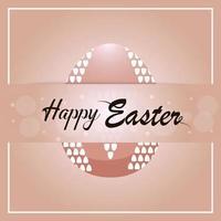 Feliz dia da Páscoa cartão-convite com ovo de Páscoa colorido e dourado vetor