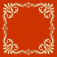 Moldura Quadrada Fileteado Com Vetor De Fundo Vermelho