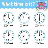 tempo de aprendizagem no relógio. planilha de atividades educacionais para crianças e bebês. jogo para crianças. ilustração vetorial simples plana isolada cor no estilo bonito dos desenhos animados. vetor