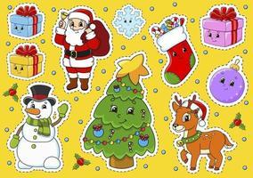 conjunto de adesivos com personagens de desenhos animados fofos. tema de natal. desenhado à mão. pacote colorido. ilustração vetorial. coleção de emblemas de remendo. elementos de design da etiqueta. para planejador diário, diário, organizador. vetor