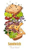 sanduíche tema fast food vetor