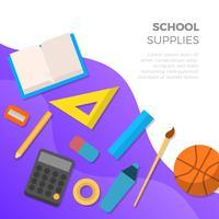 Suprimentos de escola plana com ilustração em vetor fundo gradiente