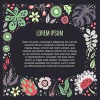 Vector ilustrações desenhadas à mão plana. lugar para seu texto rodeado de plantas, frutas e flores.