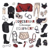 ilustrações vetoriais sobre o tema do equipamento equestre. adestramento. vetor