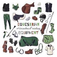 ilustrações vetoriais sobre o tema do equipamento equestre. cavalgando. vetor