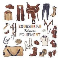 ilustrações vetoriais sobre o tema do equipamento equestre. ocidental. vetor