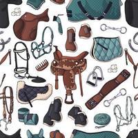 padrão de vetor. ilustrações sobre o tema equipamento equestre. vetor