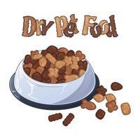 vetor tigelas com comida seca para cães e gatos.