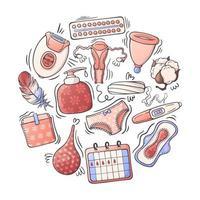 ilustrações vetoriais sobre o tema higiene feminina. vetor