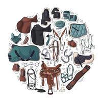 ilustrações vetoriais sobre o tema do equipamento equestre. vetor