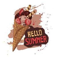 sorvete de vetor em cones de waffle decorado com frutas, chocolate ou nozes.