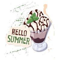 sorvete de vetor em uma tigela decorada com frutas, chocolate ou nozes.