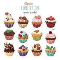 Bolinhos doces com creme, decorados com frutas e chocolate. vetor