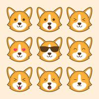 Emoticon de cão bonito Corgi vetor