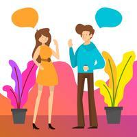 Pessoas planas falando para trabalho de equipe de negócios com ilustração em vetor fundo gradiente