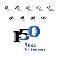 celebração de aniversário definir ilustração de design de modelo vetorial de cor azul vetor