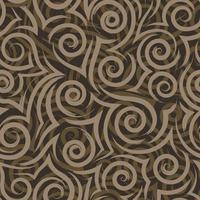 textura de vetor sem costura de pinceladas bege fluindo de espirais e cachos no mar de fundo marrom