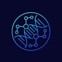 ícone de engenharia genética e modificação de DNA, vetor linear