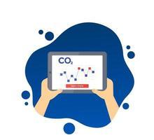 CO2, gráfico de níveis de emissões de carbono na tela do tablet, vetor