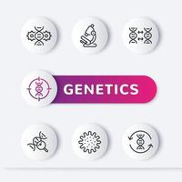 conjunto de ícones de linha genética, modificação genética, teste de DNA