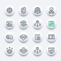 conjunto de ícones de linhas de finanças e negócios vetor