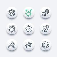 ícones de linha de vetor de micróbio, vírus e bactéria