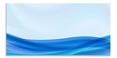 modelo horizontal de vetor para design, folheto, convite, folheto, propaganda, banner. em branco com onda ou fluxo azul, formas brilhantes e fluidas em fundo azul com lugar para texto