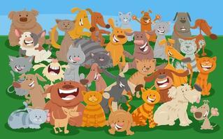 cartoon gatos e cães grupo de personagens animais em quadrinhos vetor