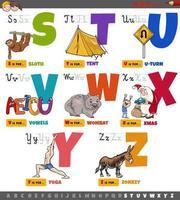 letras do alfabeto de desenhos animados educacionais para crianças definidas de s a z vetor