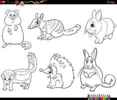 personagens de animais de desenho animado definir página de livro para colorir vetor