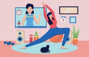 ginásio virtual em casa vetor